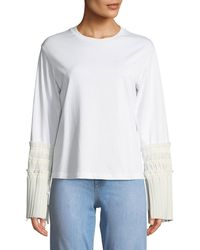 3.1 Phillip Lim - Long-sleeve Crewneck Top With Pleated Cuffs - Lyst