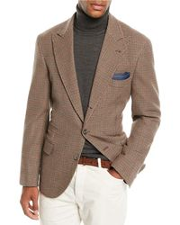 Brunello Cucinelli - Men's Cashmere & Wool Houndstooth Blazer - Brown - Lyst
