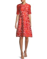 Lela Rose - Holly Elbow-sleeve Fit-and-flare Jacquard Dress - Lyst