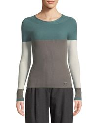 Emporio Armani - Crewneck Long-sleeve Colorblocked Ribbed Knit Top - Lyst