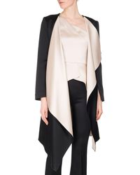 Roland Mouret - Studhan Draped Satin Open-front Coat With Contrast Lining - Lyst
