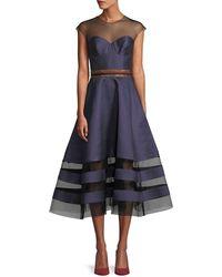Sachin & Babi - Andrea Dotted Midi Dress W/ Sheer Yoke - Lyst
