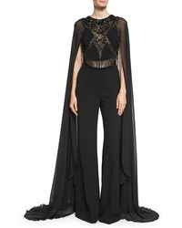 Elie Saab - Beaded Cape-sleeve Jumpsuit - Lyst