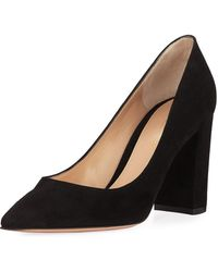 6b4911adeb Gianvito Rossi - Suede Pointed-toe Pumps With Chunky Heel - Lyst