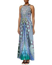 Ranna Gill - Sleeveless Beaded-neck Geometric-print Maxi Dress - Lyst