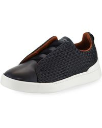 Ermenegildo Zegna - Men's Couture Triple-stitch Pelle Tessuta Leather Low-top Sneakers Navy - Lyst