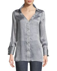 Giorgio Armani - Long-sleeve Button-front Mulberry Silk Blouse - Lyst