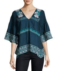 Tryb - Giselle Embroidered V-neck Top - Lyst