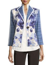 Misook Collection - Watercolor Floral Stripe-sleeve Jacket - Lyst
