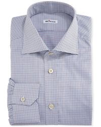 Kiton - Graph-check Cotton Dress Shirt - Lyst