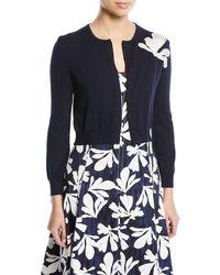 Oscar de la Renta - Long-sleeve Button-front Wool Cardigan W/ Embroidered Seaweed Detail - Lyst