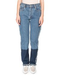 Acne Studios - Mirja High-waist Straight-leg Two-tone Denim Jeans W/ Contrast Hem - Lyst