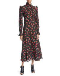 Michael Kors - Crushed Ruffle Rose-print Midi Dress - Lyst