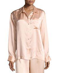 Lyst - Asceno Tile-print Silk Pajama Shorts in Natural 95741ba36