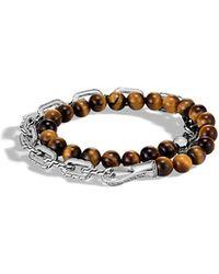 John Hardy - Men's Classic Chain Wrap Bracelet W/ Tiger's Eye - Lyst