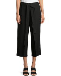 Eileen Fisher - Tie-front Stretch-crepe Cropped Pants - Lyst