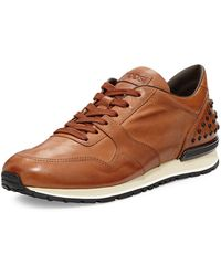 Tod's - Men's Burnished Leather Trainer Sneakers - Lyst