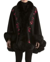 Gorski | Floral-embroidered Cashmere Cape With Fox Fur Trim | Lyst