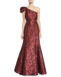 Aidan Mattox - One-shoulder Jacquard Ball Gown - Lyst