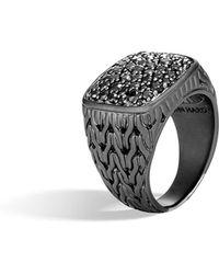 John Hardy - Men's Classic Chain Black Signet Ring W/ Black Sapphire - Lyst