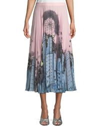 Boutique Moschino - Urban-print Pleated Midi Skirt - Lyst