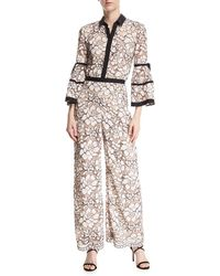 Lela Rose - Full-sleeve Piped Lace Jumpsuit - Lyst