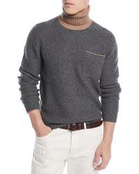 Brunello Cucinelli - Men's Bicolor Wool-blend Turtleneck Sweater - Lyst