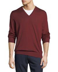 Ermenegildo Zegna - Cashmere/silk V-neck Sweater - Lyst
