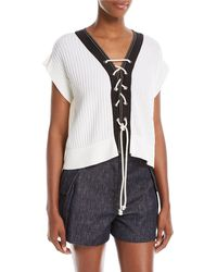 Derek Lam | Lace-up Front Short-sleeve Knit Sweater | Lyst