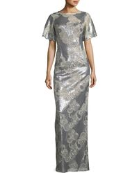 Teri Jon - Metallic Floral Scoop-back Gown - Lyst