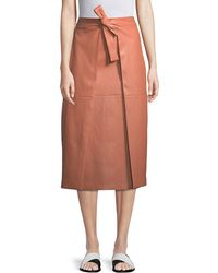 Rosetta Getty - A-line Lambskin Leather Invert Apron Wrap Skirt - Lyst