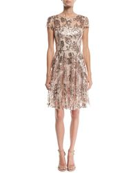 MILLY - Meg Sequin Embroidered Tulle Dress - Lyst