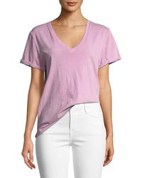 FRAME - Deep-v Cuffed Short-sleeve Cotton Tee - Lyst