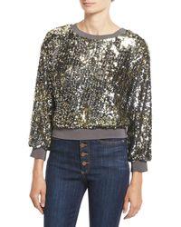 Alice + Olivia - Smith Embellished Ribbed-trim Cropped Sweatshirt - Lyst