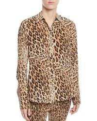 FRAME - Cheetah-print Button-front Silk Top W/ Long Cuffs - Lyst