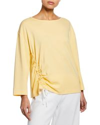 Joan Vass - Long-sleeve Cotton Interlock Top With Ruching & Tie Detail - Lyst