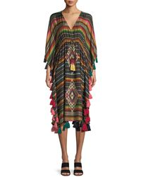 Figue - Amirta V-neck Long-sleeve Striped Silk Kaftan - Lyst