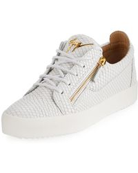 6d5f1c75e5a Giuseppe Zanotti - Men s London Double-zip Leather Low-top Sneakers - Lyst