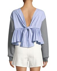 3.1 Phillip Lim - Cropped Cotton Sweatshirt W/ Tie Back - Lyst