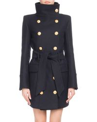 Balmain - Funnel-collar Double-breasted Belted Wool-cashmere Coat - Lyst