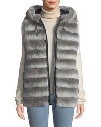 Belle Fare - Reversible Fur Vest W/ Hood - Lyst