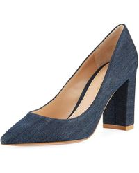 9c34966eedb6 Gianvito Rossi - Denim Pointed-toe Pumps With Chunky Heel - Lyst
