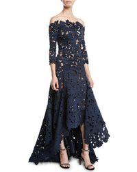Oscar de la Renta - Off-the-shoulder 3/4-sleeve High-low Cutout Lace Satin Evening Gown - Lyst