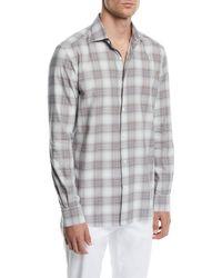 Ermenegildo Zegna - Men's Large Plaid Sport Shirt - Lyst