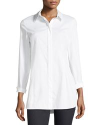 Lafayette 148 New York - Jake Stretch-cotton Button-front Blouse - Lyst