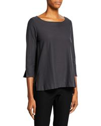Eileen Fisher - 3/4-sleeve Boat-neck Top - Lyst