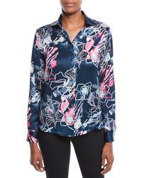 Giorgio Armani - Long-sleeve Button-front Abstract Floral-print Silk Blouse - Lyst