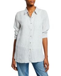 Eileen Fisher Mini-stripe Button-front Long-sleeve Handkerchief Linen Shirt - Multicolour