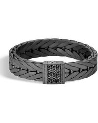 John Hardy - Men's Modern Chain Xl Silver Bracelet With Black Sapphire With Black Rhodium & Sapphires - Lyst