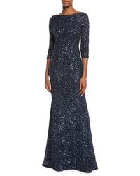 THEIA - Bateau-neck Sequin 3/4-sleeve Scooped-back Gown - Lyst